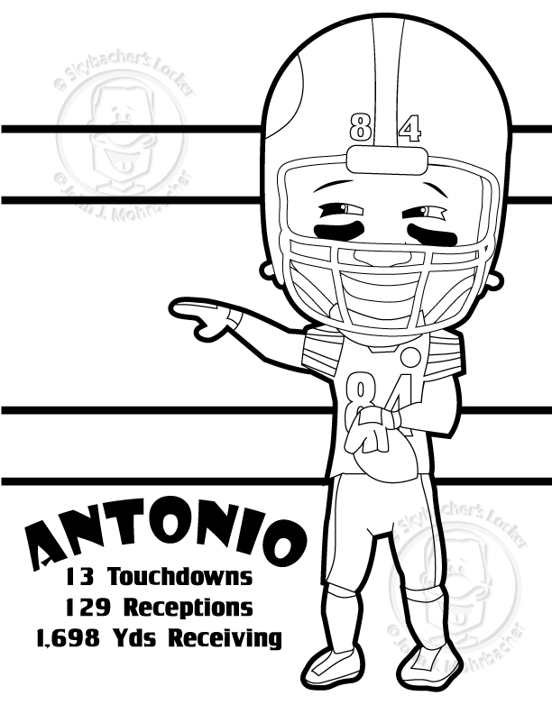 antonio brown – steelers – coloring page  skybacher's locker