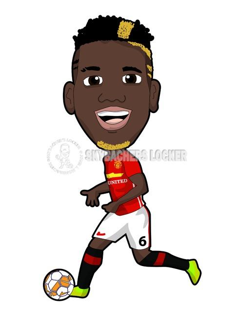 Paul Pogba Of Man United Cartoo Skybachers Locker