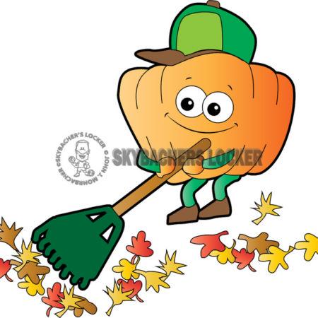 Pumpkin Raking Leaves - Skybacher's Locker