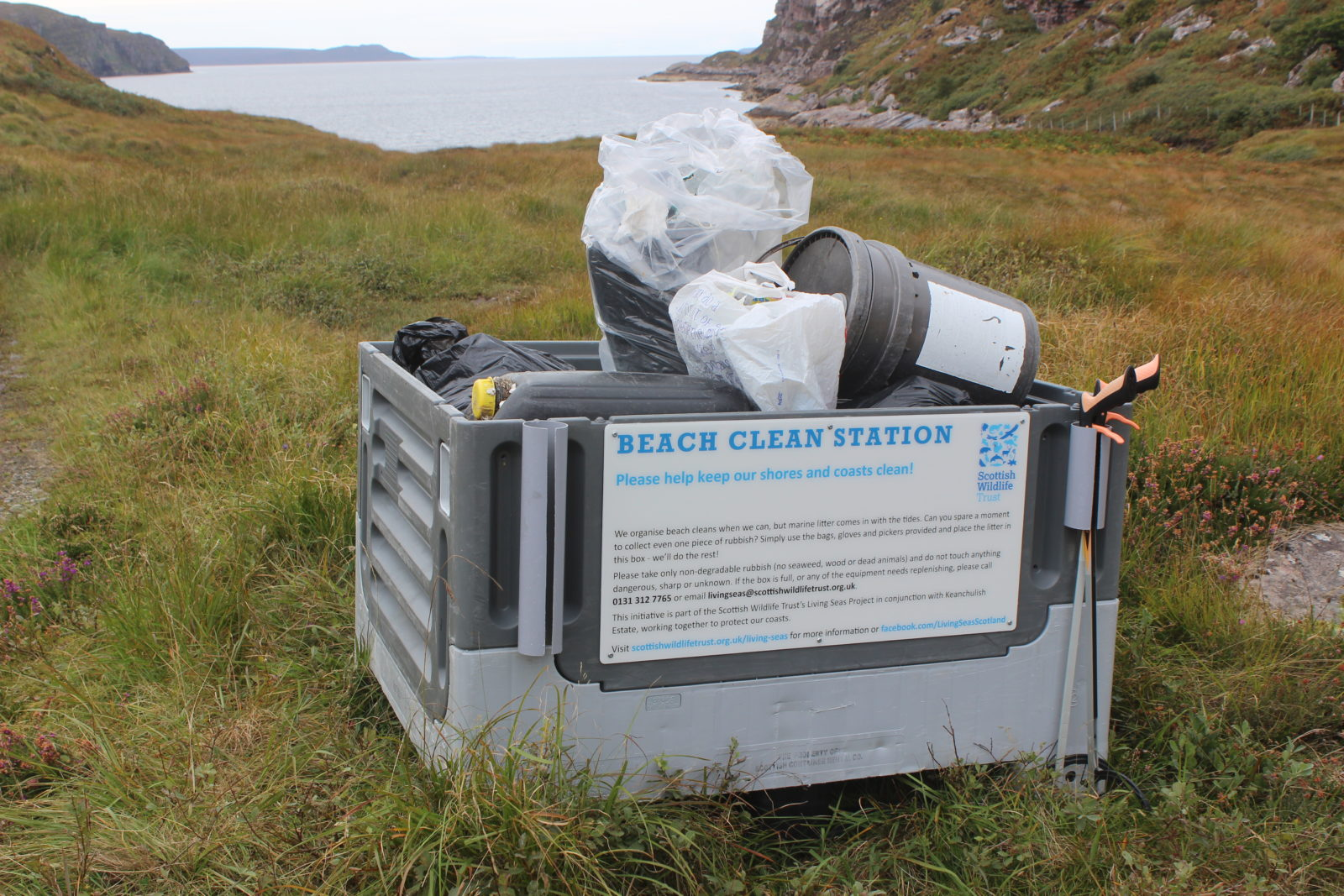 Beach clean station with collected rubbish
