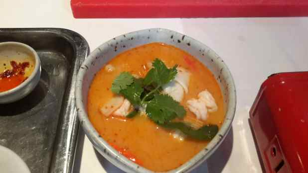 Appetizer: Tom Yum Goong Mae Nam (prawn soup) with young coconut