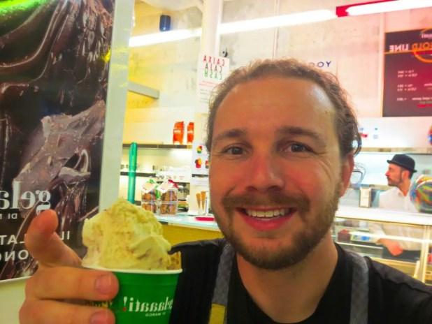 Skye Eating Gelato in Barcelona