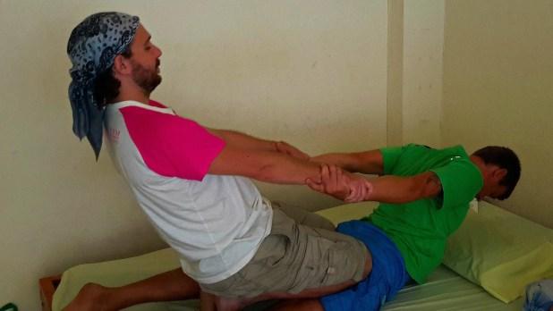 Wat Pho Massage Class Assisted Yoga Stretch