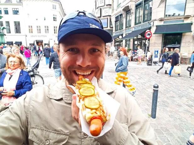 Selfie Eating a Copenhagen Hot Dog