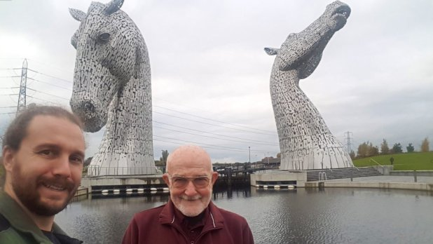 Dad and I at the Kelpies