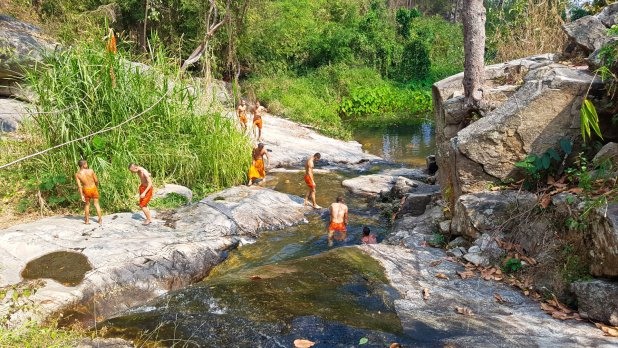 Monks Swimming at Huay Kaew Waterfall