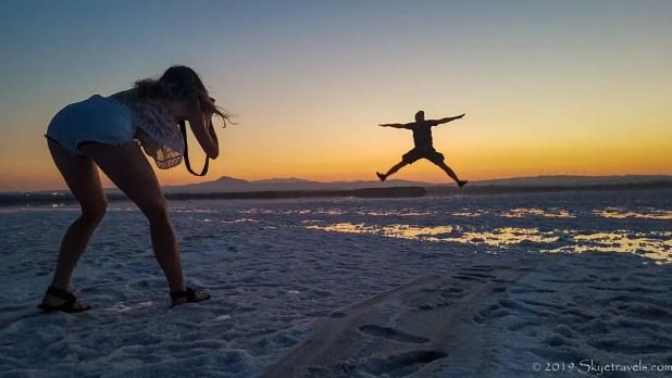 Selfie Jumping on the Larnaca Salt Lake