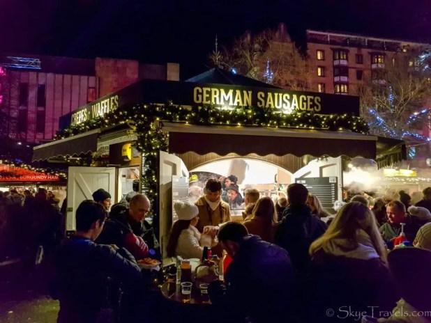 German Sausage Stand at the Edinburgh Christmas Market