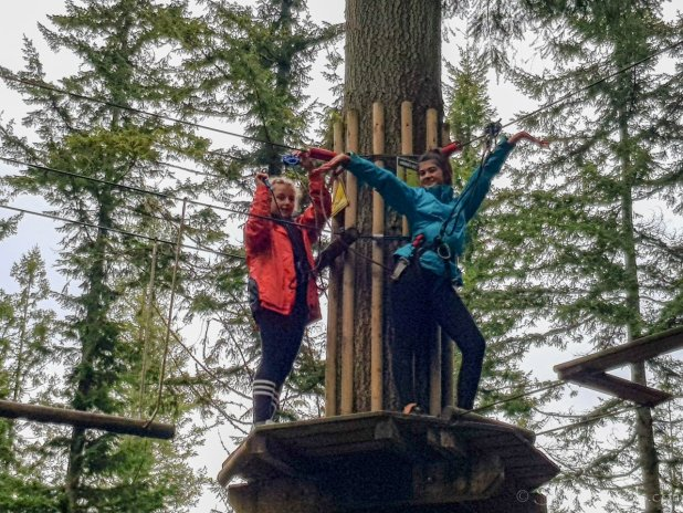 Girls Posing at Go Ape Peebles