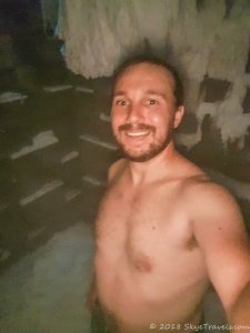 Selfie in Ice Chamber at Miura Hotel Spa