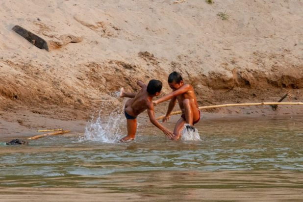 Kids Playing in the Mekong