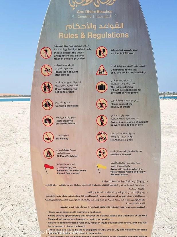 Beach Rules in Abu Dhabi