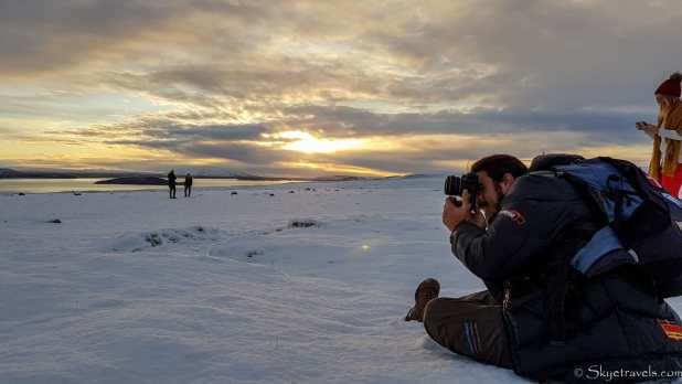 Luis Taking Photos at of Iceland's Sunrise