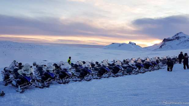 Snow Mobiles on Langjokull Glacier for Sunset