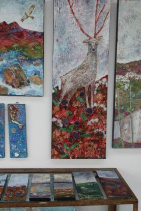Mixed media paintings by Morag Archer at Skyeworks Gallery in Scotland