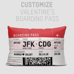Valentines boarding pass pillow