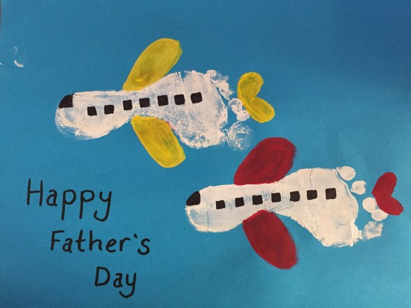 Cute Fathers' Day Aeroplane Craft Idea Using FootPrints. Great for a Pilot Dad or One Who Loves Flying