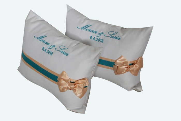 set of 2 personalized wedding prayer church kneeling pillow with names and date