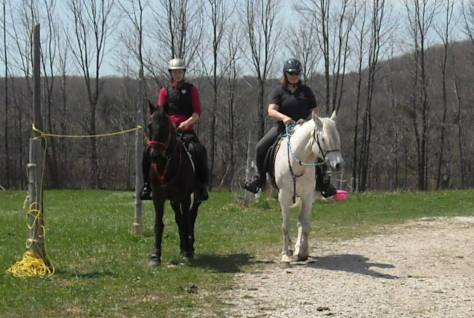 Ares on the left, Diego on the right. Hopefully I was just trying to find my stirrup or something and I don't actually ride like that!