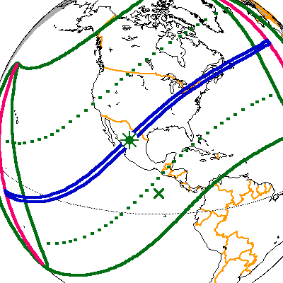 A map depicting the path of the 2024 total solar eclipse through North America.