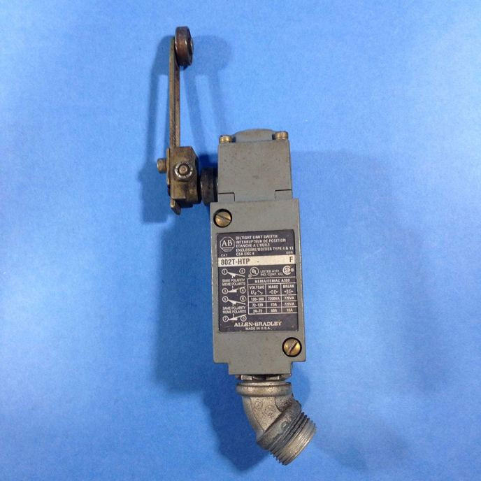 An Allen Bradley limit switch. This switch is an example of a sensor that requires contact with the part and thus is subject to failure modes resulting from its internal motion.