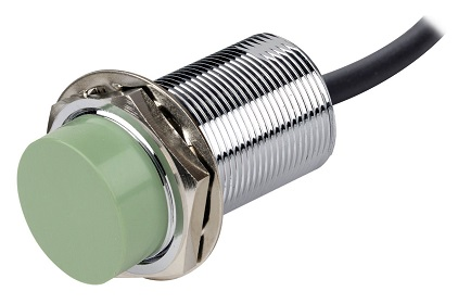 A capacitive proximity sensor available for purchase on Amazon. The sensor has a chrome finish with a green face. I deliberately selected a prox that looked the same in its capacitive and inductive forms.