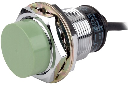 An inductive proximity sensor available for purchase on Amazon. The sensor has a chrome finish with a green face.