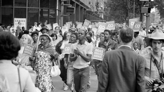 Demonstrators participating in the Poor People's March at Lafayette Park and on Connecticut Avenue, Washington, D.C. (18 June 1968). Photo by Warren K. Leffler, U.S. News & World Report.