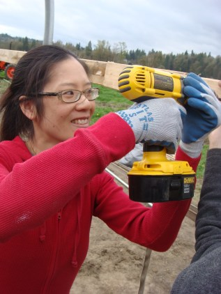A gratuitous photo of me using the drill. Power tools...whee!