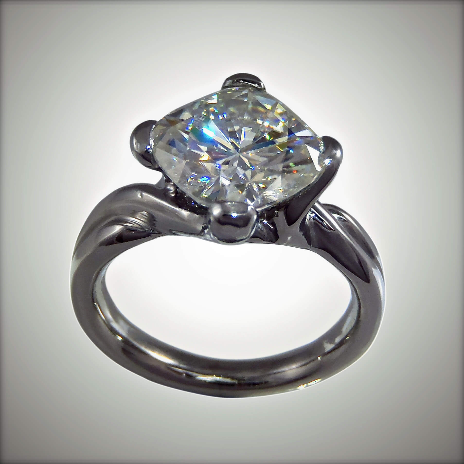 Moissanite Amp Palladium Ring