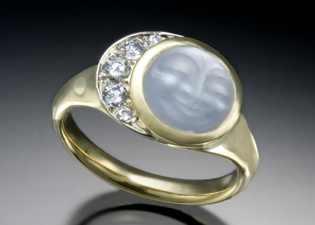 Moonstone Diamond Crescent Ring Skylight Jewelers