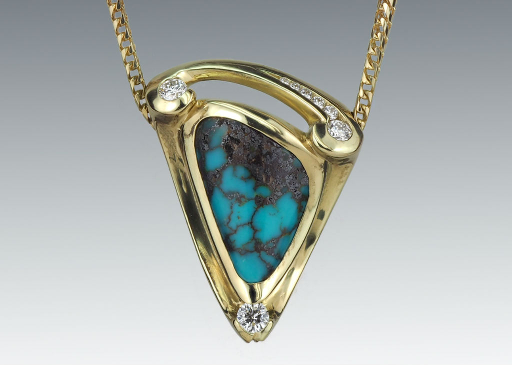 Turquoise Triangular 18K Diamond Necklace