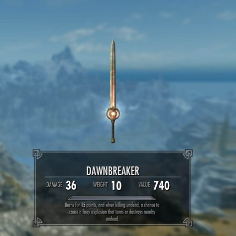 Skyrim uniqeu one-handed sword called Dawnbreaker with 36 damage, 10 weight and value of 740.