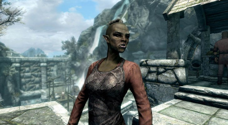Orc blacksmith Ghorza gra-Bagol standing near the exterior forge in Markarth in Skyrim