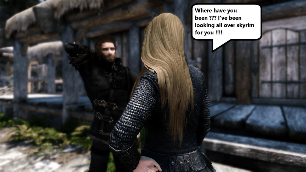 My character welcoming Bishop back in skyrim se huhu