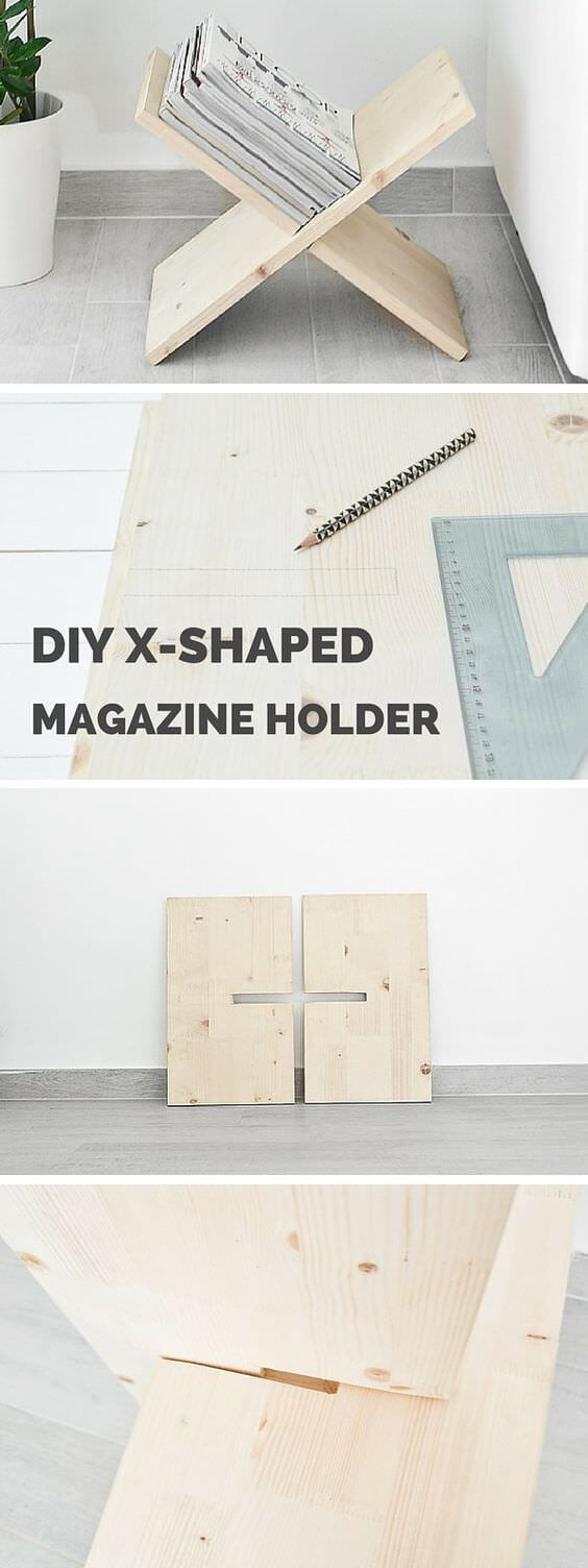 diy x shaped magazined holder