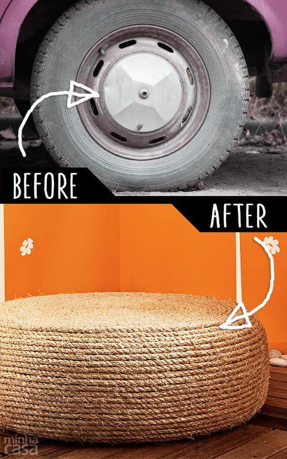 Rope tire decoration ideas