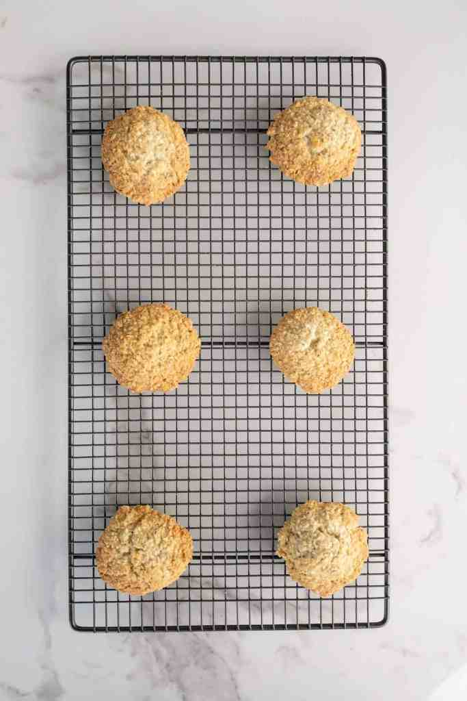 Oatmeal and coconut cookies on a cooling rack