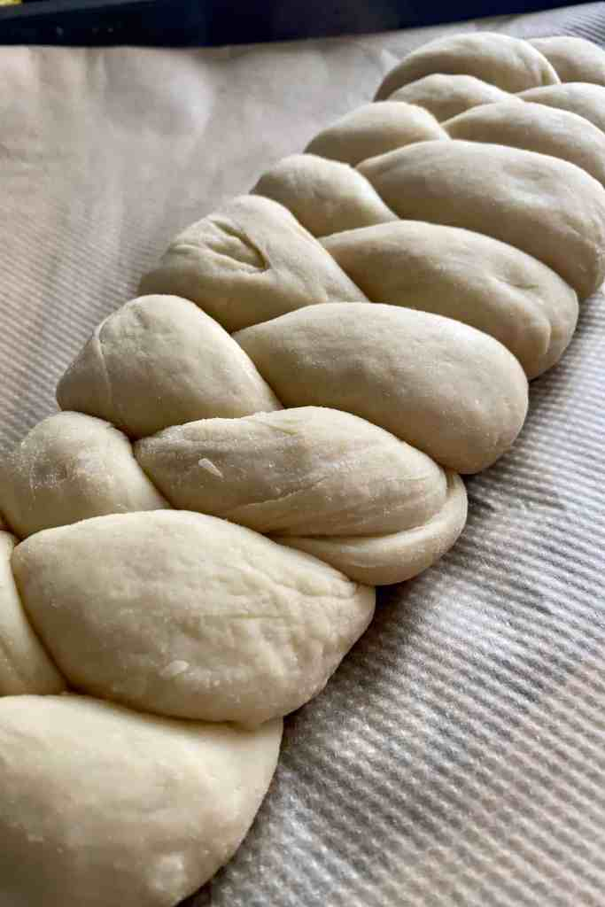 Challah bread braided loaf unbaked