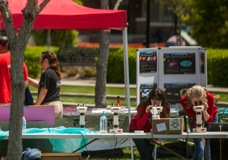 WKU's Microbiology Club shared microscopes at the 2015 SKy Science Festival