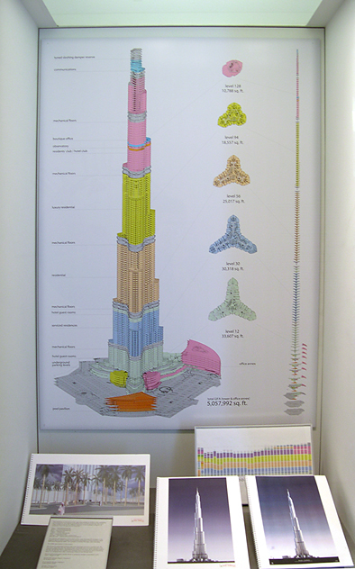 Case view of the program of Burj Khalifa. The case showcases a stacking diagram showing the changes in floorplan in elevation.