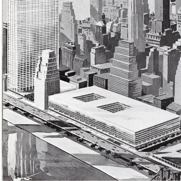 Rendering proposal promoted in the late 1950s by the Downtown-Lower Manhattan Association for a World Trade Center on the East River.