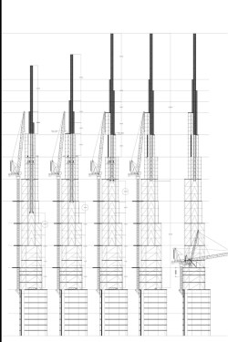Diagram showing the construction of the spire of Burj Khalifa