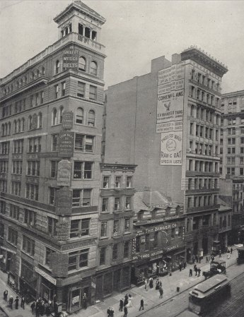 <p>New Netherland and Savoy Hotels c.1900. Postcard, Collection of The Skyscraper Museum.</p> <p>Lofts, 707-709 Broadway, 1896, from Both Sides of Broadway by Rudolph M. Leeuw. </p>