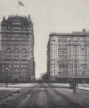 New Netherland and Savoy Hotels c.1900. PostcARD, Collection of The Skyscraper Museum