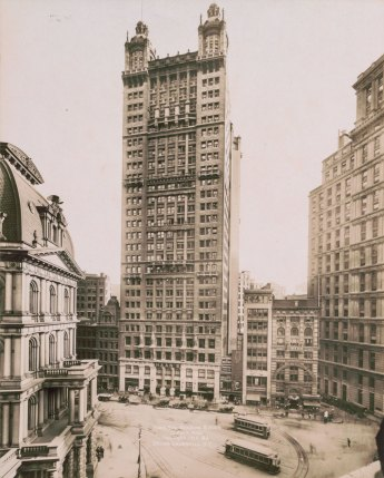 <p>The American Surety Building, 100 Broadway, completed 1895. Collection of the Skyscraper Museum.</p> <p>Park Row Building, completed 1899, Library of Congress.</p>