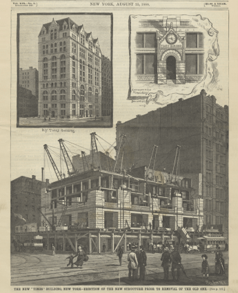 The New _Times_ Building, New York-Erection of the New Structure Prior to the Removal of Old One. Scientific American, August 25, 1888, cover