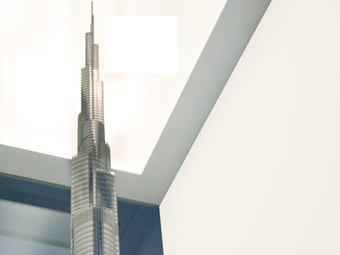 Closeup photograph of the spire of the Burj Khalifa presentation model