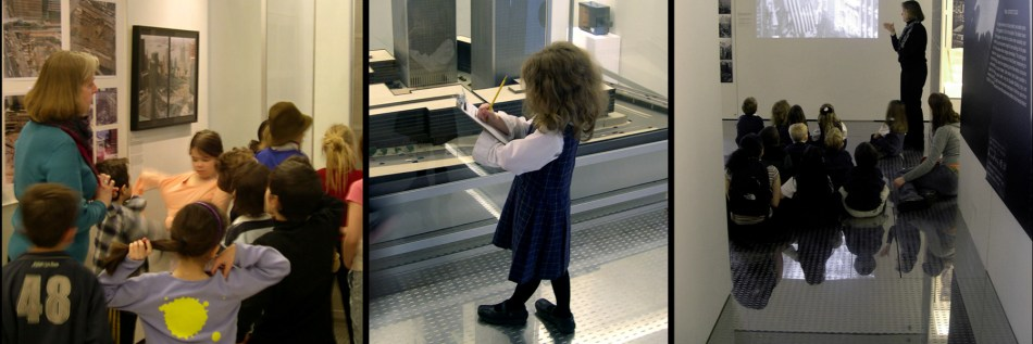 Photographs of school children participating in educational programs at The Skyscraper Museum