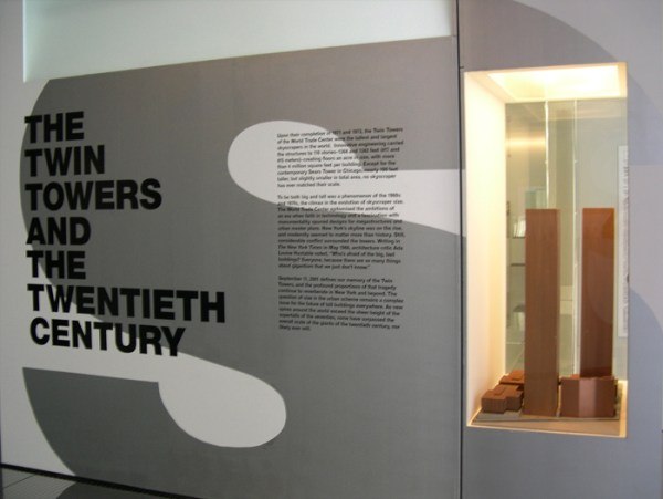 Gallery view of exhibition with a wind tunnel model of the World Trade Center